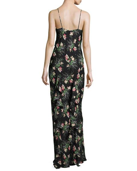 Floral Cloud-Print Silk Cami Gown, Black/Multi