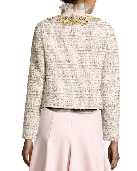 Embroidered Tweed Jacket, Pink