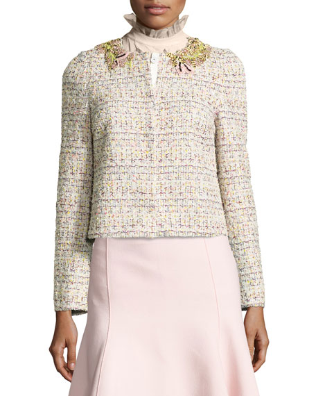 Embroidered Tweed Jacket, Pink