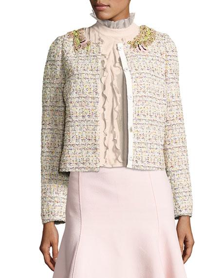 Giambattista Valli Embroidered Tweed Jacket, Pink