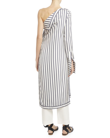 Striped Silk Twill One-Shoulder Dress, White/Blue