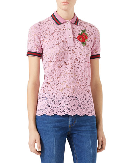 72b538d8a7 Gucci Short-Sleeve Lace Polo with Flower Patch