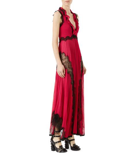 Sleeveless Long V-Neck Dress with Lace Trim