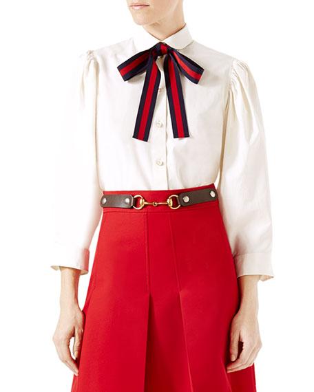 0f8ca32b218 Gucci Cotton Poplin Shirt with Web Ribbon