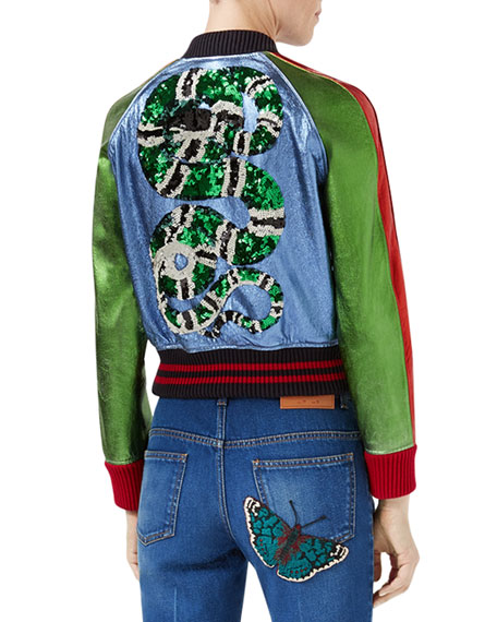 51df3d98ade Gucci Metallic Leather Bomber Jacket with Snake Patch