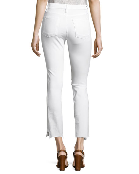 Le High Straight Side-Step Raw-Hem Jeans, Blanc