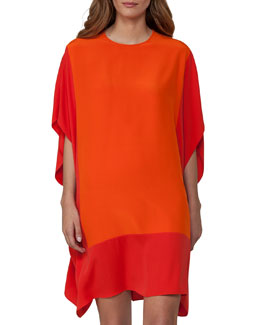 Two-Tone Silk Caftan Dress, Red/Orange