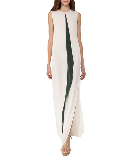 Sleeveless Silk Gown w/Contrast Center Pleat, White/Green
