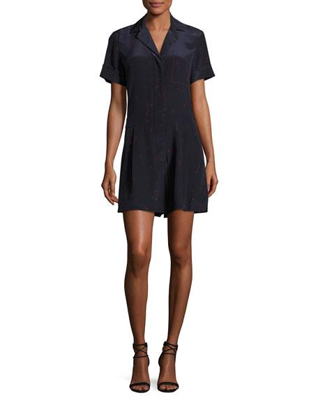 Short-Sleeve Printed Silk Romper, Blue