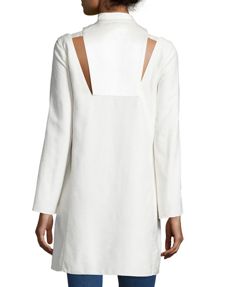 Long-Sleeve Textured Silk Tunic, Ivory