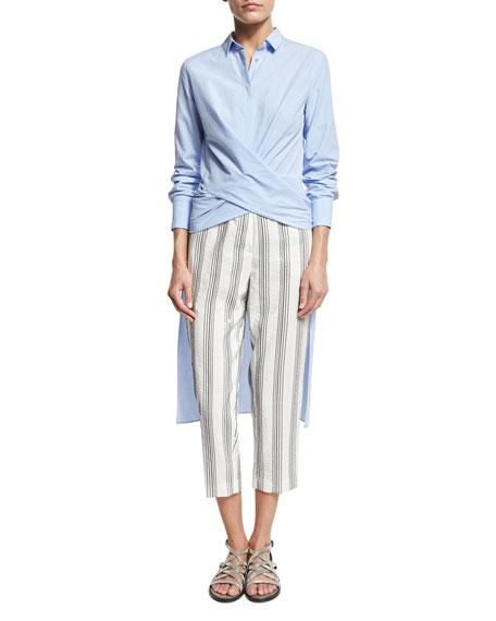 Micro Paillette-Striped Pants