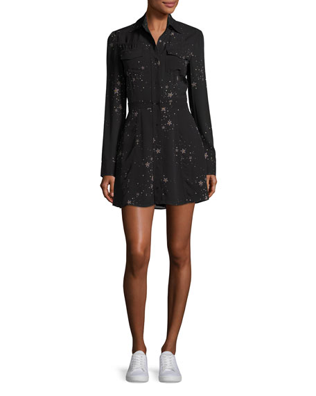 Pedro Long-Sleeve Silk Star Shirtdress, Black