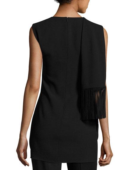 Knit Tunic w/Suede Fringe, Black