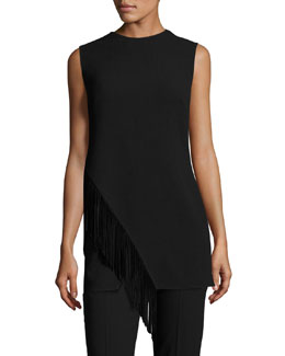 Knit Tunic w/Suede Fringe, Black