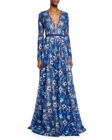 Long-Sleeve Scalloped Lace Gown, Royal Blue