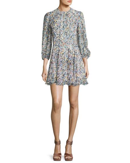 Derek Lam Abstract-Print Silk Mini Dress, White