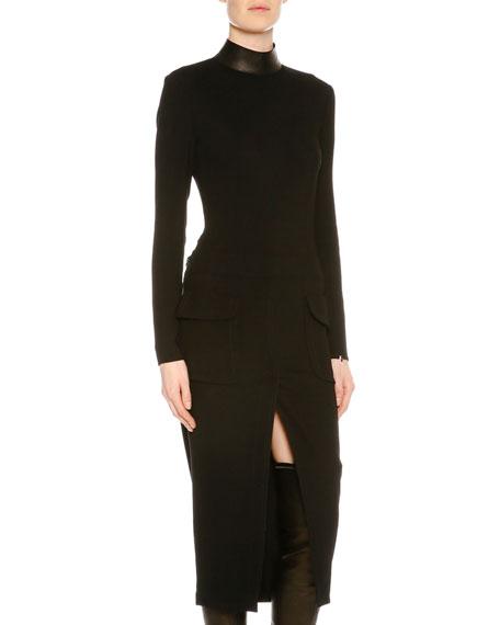 Mock-Neck Patch-Pocket Midi Dress, Black