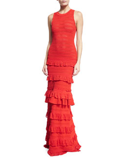 Sleeveless Crochet-Knit Tiered Gown, Red