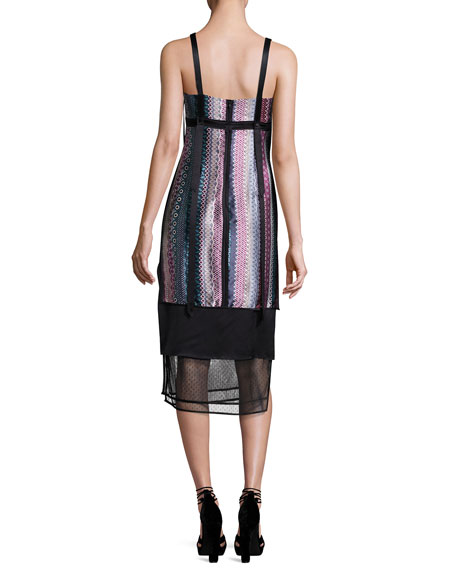 Gia Sleeveless Silk Midi Dress, Black Pattern