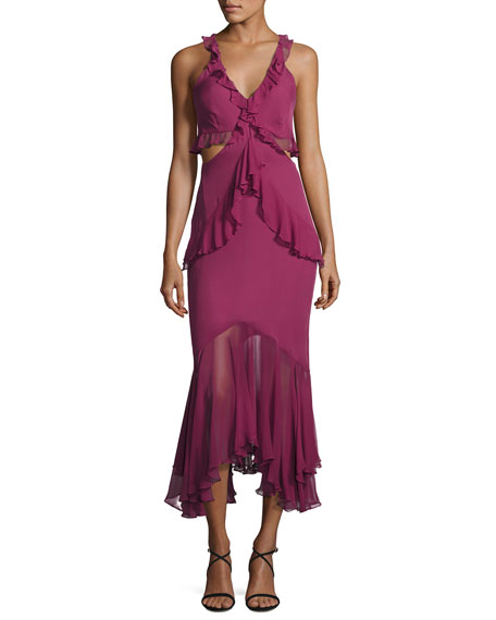 Image 1 of 1: Sydney Ruffle Cutout Silk Midi Dress, Purple