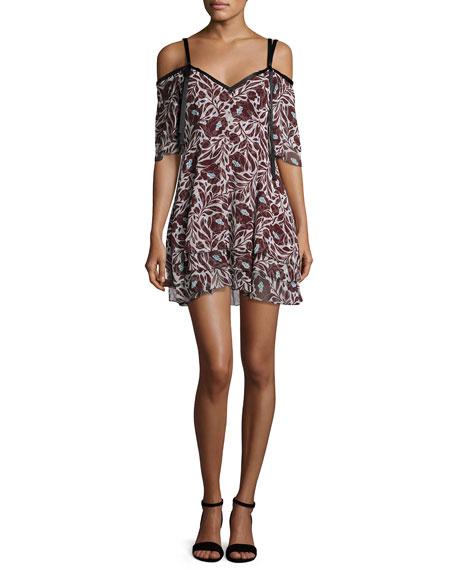 Corinna Cold-Shoulder Floral-Print Silk Mini Dress