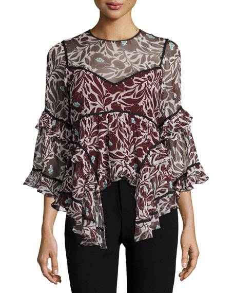 Woodcut Floral Melodie Silk Top, Multicolor