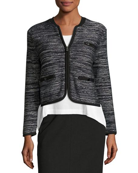 Rosalie Cropped Zip-Front Sweater Jacket, Black/White