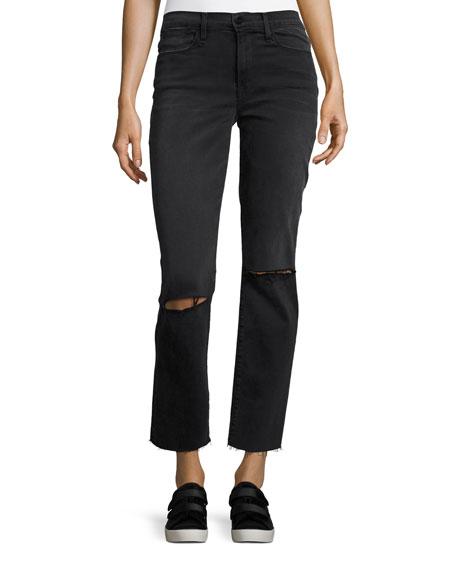 FRAME Le High Straight Raw Edge Jeans, Molony