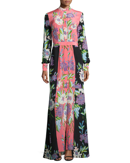 Floral-Print Slit-Front Silk Maxi Dress, Multicolor