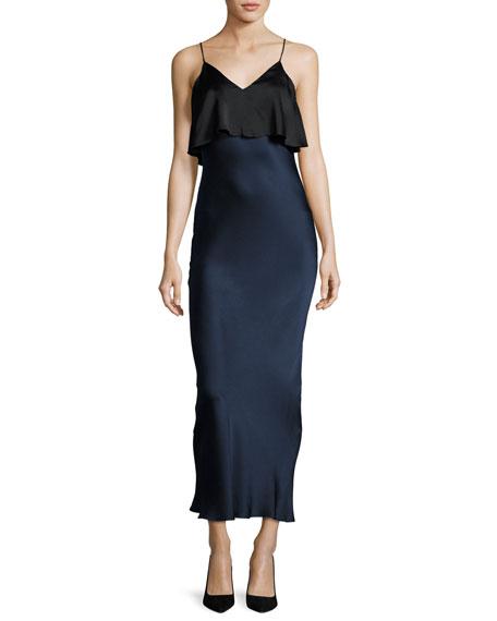 Hammered Silk Popover Slip Dress, Blue/Black