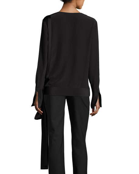 Silk Crossover Tie Blouse, Black