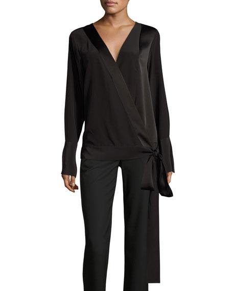 Silk Crossover Tie Blouse, Black