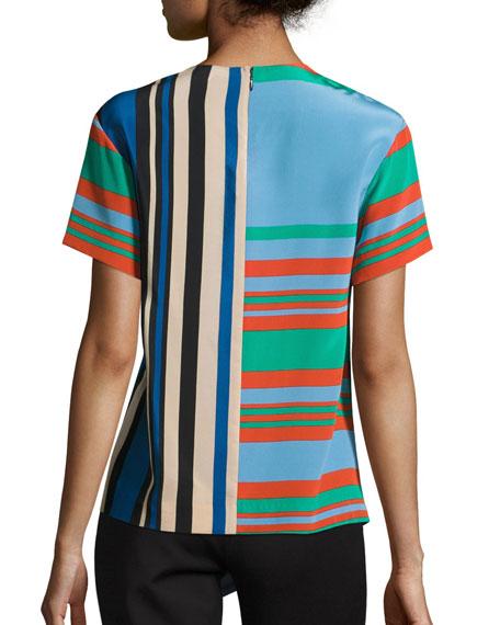 Striped Silk Asymmetric T-Shirt, Multicolor