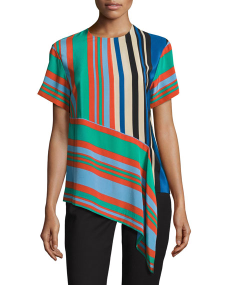 Striped Silk Asymmetric T-Shirt, Multicolor