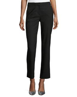 Stretch-Wool Cigarette Pants, Black
