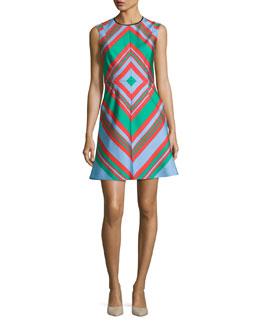 Diamond Tailored A-Line Dress, Multicolor