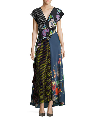 Draped Mixed-Print Floral & Dot Silk Maxi Dress, Multicolor