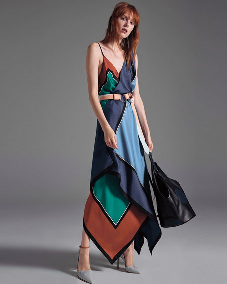 Colorblock Silk Scarf-Hem Midi Dress, Blue/Green/Copper