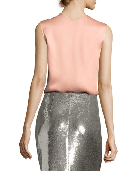 Two-Tone Satin-Back Shell Top, Blue/Salmon
