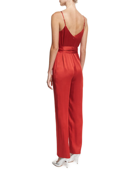 Satin Sleeveless Pleat-Front Belted Jumpsuit, Red