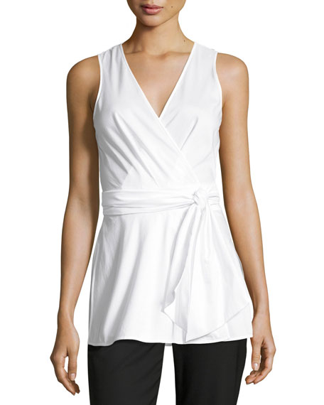Sleeveless Poplin Wrap Top, White