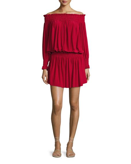 Peasant Jersey Blouson Mini Dress, Red