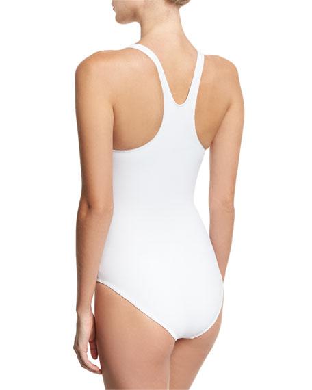 Mio Racerback Printed One-Piece Swimsuit, White