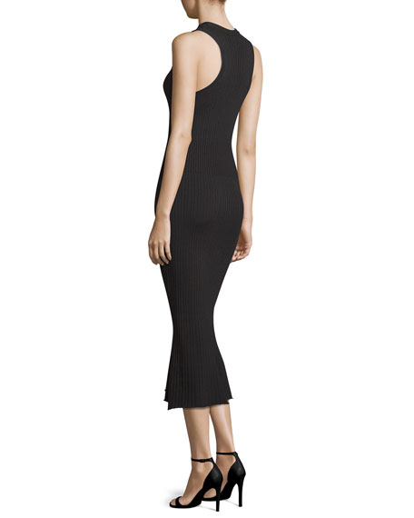 Ribbed Crewneck Midi Dress, Black
