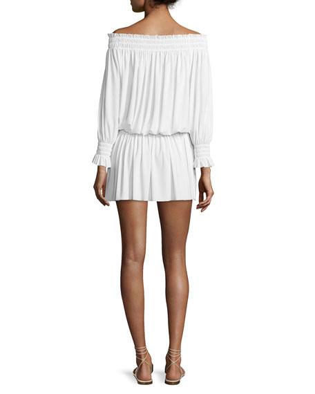 Peasant Jersey Blouson Mini Dress, Ivory