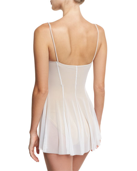 Mesh Underwire Bustier Swimdress, White