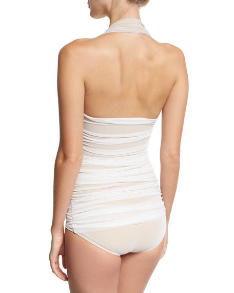 Bill Mio Halter One-Piece Swimsuit, White