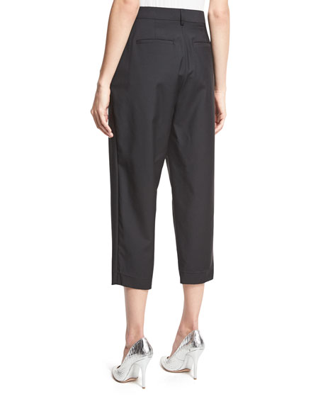 Easy Pleat-Front High-Waist Cropped Pants, Black