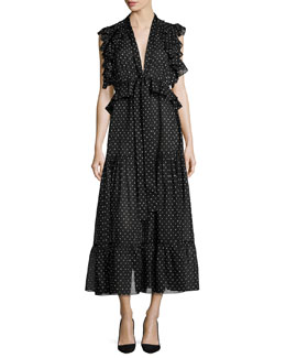 Polka Dot Midi Dress, Black