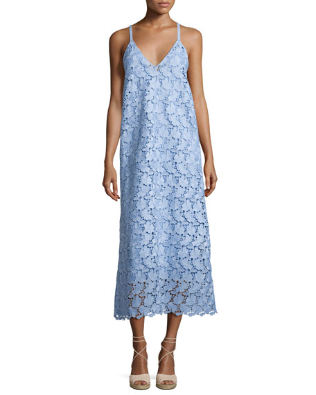 Robert Rodriguez Sleeveless Guipure Lace Midi Dress, Blue